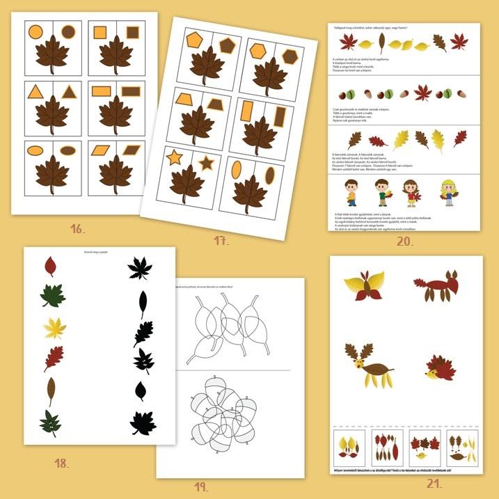 őszi nyomtatható ovis feladatok